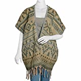 Slate Blue, Multi Color 100% Acrylic Open Swimsuit Cover-ups Poncho with Fringes and Pockets One Size