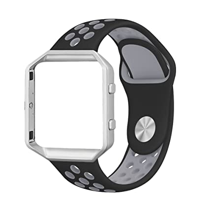 UMAXGET Compatible with Fitbit Blaze Bands, 1 Pack/ 2 Pack Sport Silicone  Replacement Strap with Silver Frame Compatible with Fitbit Blaze Smart