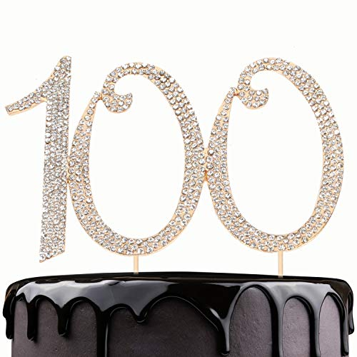 LINGPAR 100 Years Birthday Cake Topper - New Best Crystal Rhinestone 100th Wedding Anniversary Or 100 Years Old Cake Topper Party Decoration Gold