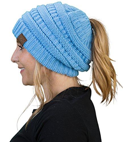 BT-6020a-28 Messy Bun Womens Winter Knit Hat Beanie