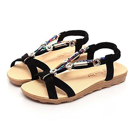 Chaussures Tomwell Perles Sandales Romaine Plage Noir Peep Plates Femme Sandales Mode de Toe Diamant r5w07rqvx