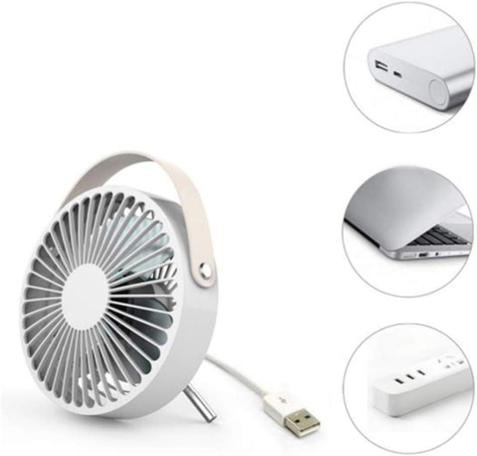 Musitelying Rechargeable Small Portable USB 4 Blades Fan Super Mute Laptop Computer PC Desktop Cooler White
