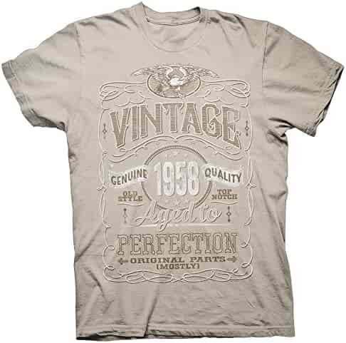 f3acc3a92a7be0 ShirtInvaders Vintage Aged Perfection 1958 - Distressed Print - 60th  Birthday Gift T-Shirt