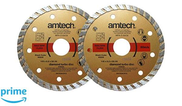 Am-Tech - v0235 2pieza 115 mm (4 - 1/2 Pulg.) Set de discos de diamante Turbo - Rojo (2 piezas): Amazon.es: Bricolaje y herramientas
