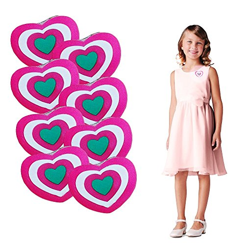 12 Pack Valentine's Day Blinking Heart Brooches   Light Up Holiday Heart Pins   Red and Pink Clothing -