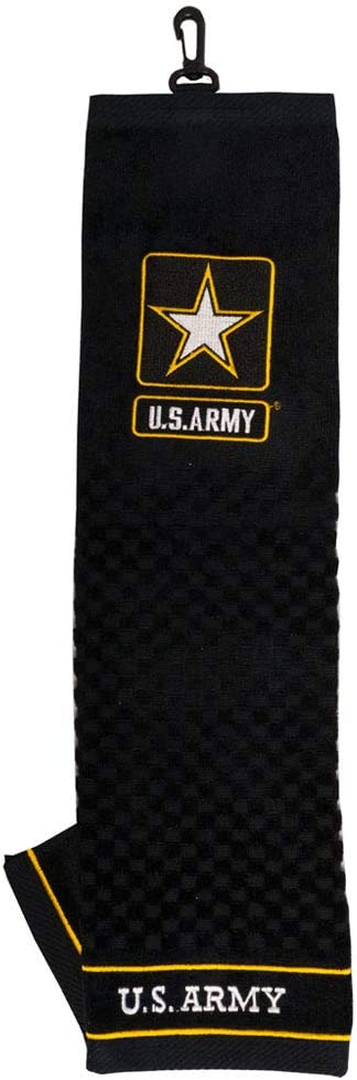 Team Golf Military Army Embroidered Golf Towel, Checkered Scrubber Design, Embroidered Logo