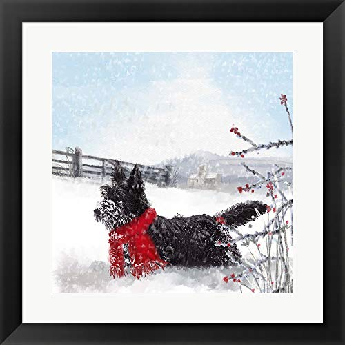 Black Scottie Dog by Clare Davis London Framed Art Print Wall Picture, Flat Black Frame, 20 x 20 inches