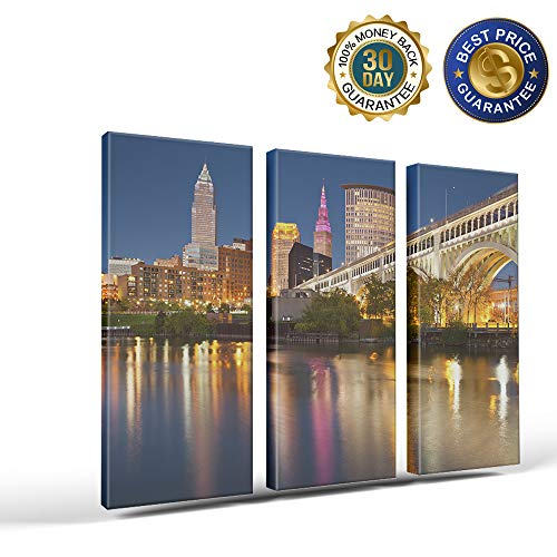 3 Panels Canvas Print Wall Art The Empire State Building New York City Night Scene Wall Decor Pictures for Living Room Modern Artwork Paintings Photographs Stretched and Framed Ready to Hang]()