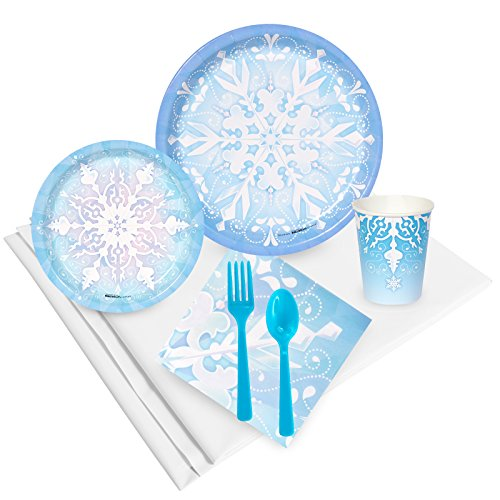 BirthdayExpress Snowflake Winter Wonderland Holiday Party Supplies - Tableware Party Pack (24) -