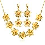 U7 Women 2 Pieces Jewelry Set 18K Gold Plated Flower Necklace Earrings Set