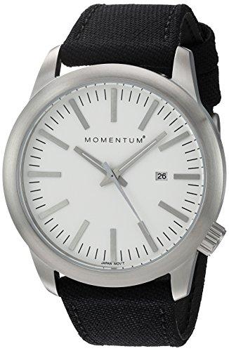 Momentum Men's Quartz Stainless Steel and Canvas Dress Watch, Color:Black (Model: 1M-SP10W6B)