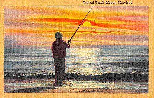 Crystal Beach Manor Maryland Sunset Fishing Greeting Antique Postcard K102808
