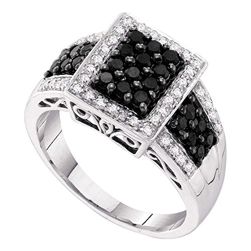 Sonia Jewels Size 11-14k White Gold Round Black Diamond Rectangle Cluster Ring 5/8 Cttw