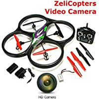 New ZeliCopters Altitude Hold Control Mode RC Quadcopter with HD Video Camera,4 Ch 2.4ghz 6-gyro, Remote Control Drone Equipted Drones Quadcopters