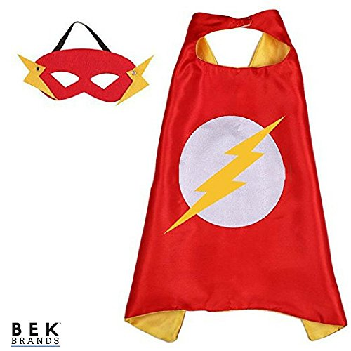 Bek Brands Flash Superhero Cape and Mask Set | Dress up Satin Cape and Felt Mask, Costume for Kids Party