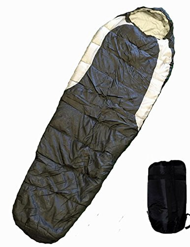 Adult Mummy Type Camping Sleeping Bag with Carrying Case - Black and Grey [並行輸入品] B072Z4LCD7