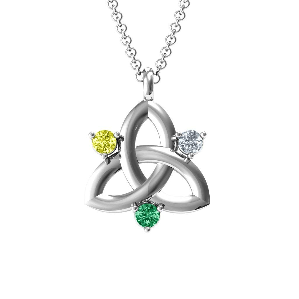 Sterling Silver Three Stone Classic Celtic Trinity Knot Pendant with Personalized Birthstones by JEWLR