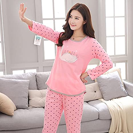 Syksdy Otoño Invierno Mujer Pijama Set Pijama De Algodón De ...