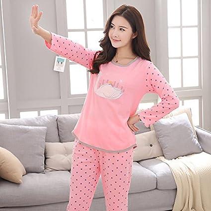 Syksdy Otoño Invierno Mujer Pijama Set Pijama De Algodón De Manga Larga Y Patrón De Swan
