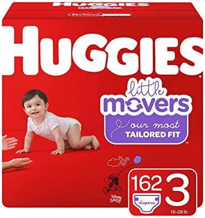 Huggies Little Movers Baby Diapers Size 3 162 Ct One Month Supply Packaging May Vary