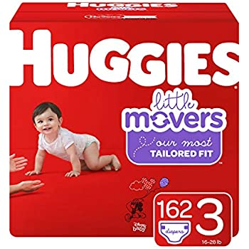 Huggies Little Movers Diapers, Size 3 (16-28 lb.), 162 Ct, One Month Supply (Packaging May Vary)