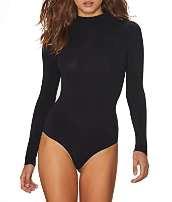 commando Women's Ballet Mock Neck Thong Bodysuit, Black, One Size