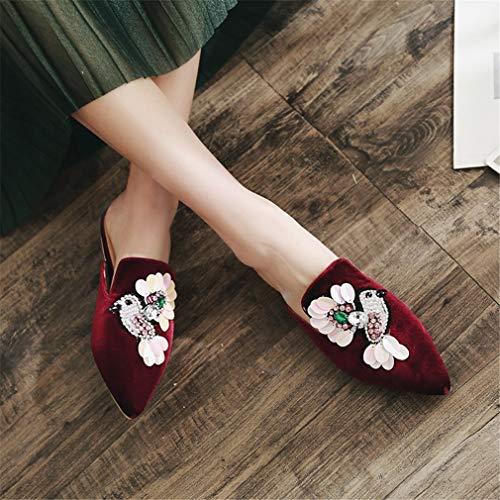 Et Femmes Fleurs Jred Pantoufles Brodées YUCH pour avec Chaussures qPgxZZUX