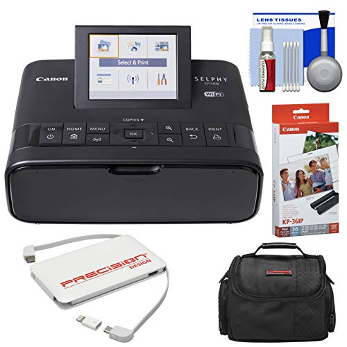 Canon SELPHY CP1300 Wi-Fi Wireless Compact Photo Printer (Black) with KP-36IP Color Ink Paper Set + Power Bank + Case + Kit