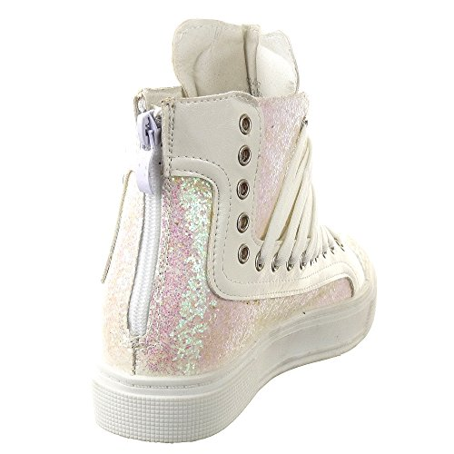 Sopily - damen Mode Schuhe Sneaker Keilabsatz Reißverschluss - Weiß