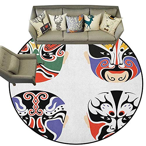 (Kabuki Mask,Round Rug Traditional Chinese Cultural Opera Mask Set Collection Asian Tribal Art Theme D66 Baby Room Decor Round Carpets)