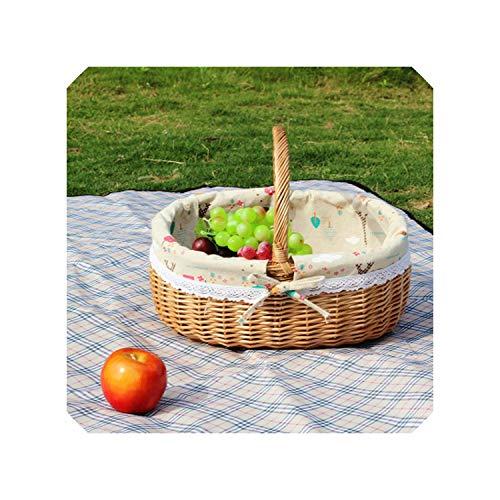 Wicker Picnic Basket Handmade Storage Baskets Wooden Color Woven Straw Rattan Fruits Basket for Gardening Shopping Basket,Tower Fabric Liner,L36cm W29cm H15cm (Wicker Crossword Clue Basket)