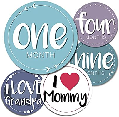 2c4bcac06f33 Baby Monthly Milestone Stickers - 24 Adorable Belly Stickers for Boys or  Girls in Their First Year. Capture Loving Memories for a Scrapbook or Track  Their ...