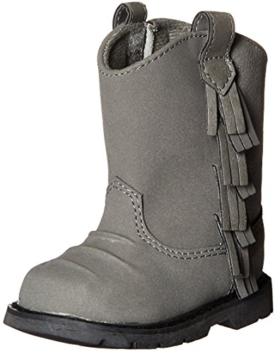 Baby Deer Baby Western Fringe Toddler Boot, Grey, 2 M US Infant