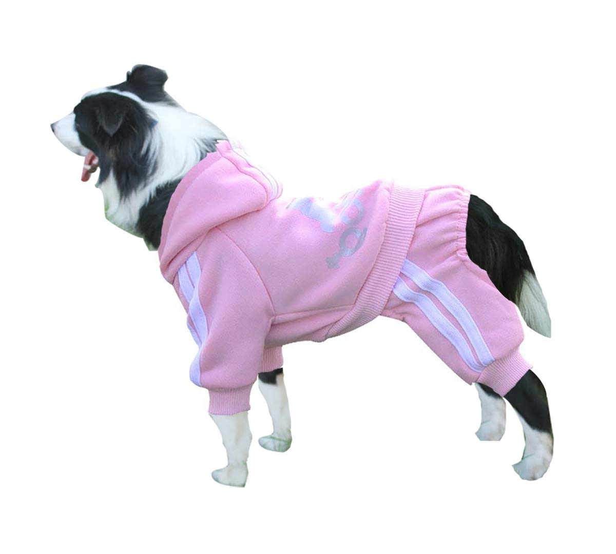 Rdc Pet Adidog Dog Hoodies, Clothes,Fleece Jumpsuit Warm Sweater,4 Legs Cotton Jacket Sweat Shirt Coat Small Dog Medium Dog Large Dog (3XL, Pink)