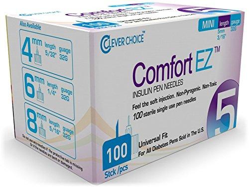 "Clever Choice Comfort EZ™ Insulin Pen Needles 32G 5mm (3/16"") - 100 Count"