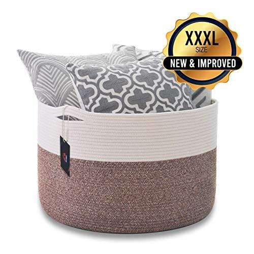 Vilerve - XXXL Cotton Rope Basket - Woven Storage Basket - 22