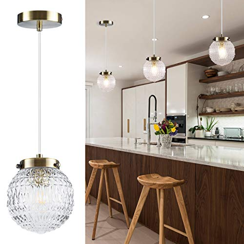 TeHenoo Retro Mid Century Pendant Light, Glass Globe Shade Contemporary Pendant Lighting Living Room Dining Room Kitchen Island 1-Light Adjustable Ceiling Hanging Lighting ()