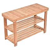 Costway Bamboo 2-Tier Shoe Bench Shoe Rack Seat Shoe Shelf Holder Storage Organizer Entryway Hallway Furniture