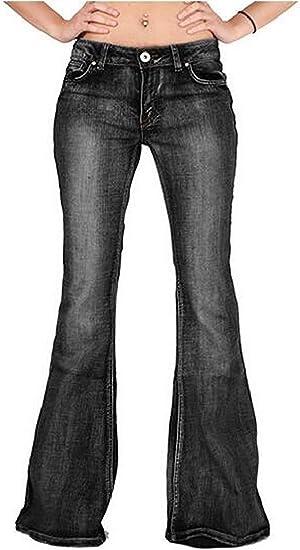 Women Denim Jeans Pants Mid Rise Slim Bell Bottom Flared Pants Trouser