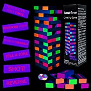 Black Light Tumble Tower -Glowing Blocks Tumble Tower Suitable for Day Or Night, 54 Blocks with Hilarious Drin