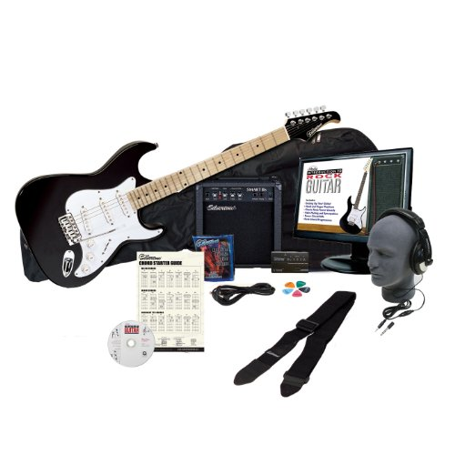 Silvertone SS10 Complete Electric Guitar Package with Instructional Software - Black -  FBA_SS10 EPB