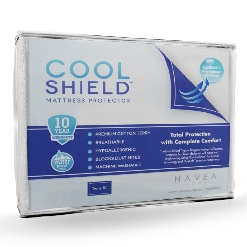 Cool Shield No Allergy Waterproof Mattress Protector - Breathable Terry Cover Protects Against Dust Mites, Allergens, Bacteria, Mold and Fluids - See Reviews - Machine Washable Mattress Protector - Best 10-yr Guarantee - Size: Twin XL (39 in x 80 in)