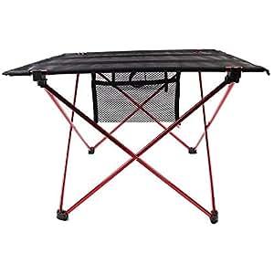 Candora ™ Clover–Mesa plegable de camping plegable de aluminio, soportes, portátil paño de Oxford mesa para interior al aire libre Picnic fiesta comedor Camping, rosso