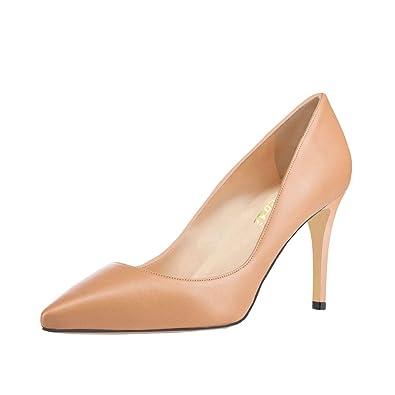 VOCOSI Women s Basic Simple High Heels Slip On Closed Pointed Toe Ladies  Dress Pumps M- 7a3487ffbaa7
