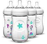 Image of Philips AVENT 4 Piece Natural Baby Bottle with Seahorse Design, 9 Ounce, (4 Pack)