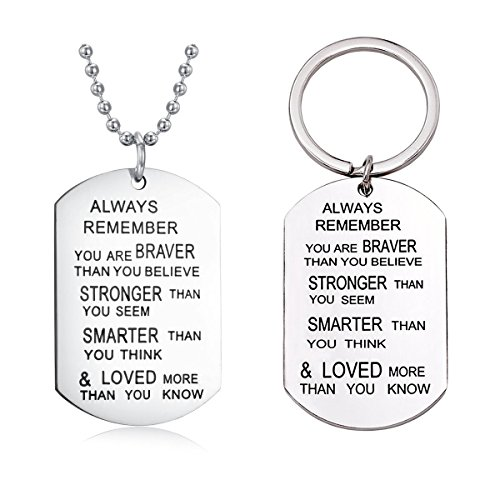 Studiocc Always Remember You are Braver Than You Believe Jewelry Pendant Necklace with Keychain, Inspirational Keyring Gifts for Women, for Men, Family, Son, Daughter, Friend, Sister, Mom, Dad