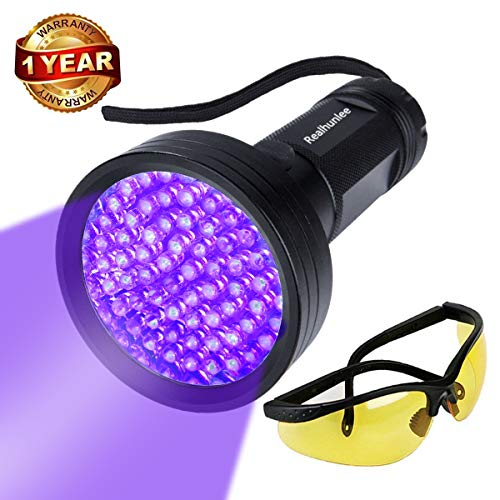 (UV Black Light Flashlight, Super Bright 68 LED #1 Best Pet Dog Cat Urine Detector light Flashlight for Dry Pet Urine Stains, UV Blacklight Flashlight with UV Sunglasses for Bed Bugs Scorpions (68 led))
