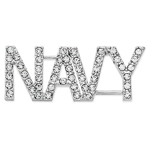 PinMart's Rhinestone USA Military NAVY Patriotic Jewelry Brooch Style Pin 1-3/4