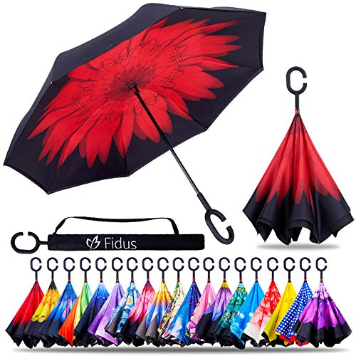 (Fidus Double Layer Inverted Reverse Umbrella, Winproof Waterproof Folding UV Protection Self Stand Upside Down Large Car Rain Golf Outdoor Rain Umbrella with C-Shaped Handle for Men Women(Red Rose))