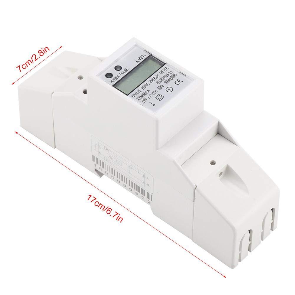 Compteur /Électrique BiuZi 40 XTM35SA 220V 10 Compteur D/énergie Sur Rail DIN /À 7+1 Digits 2 Fils Type de Guide 2P Compteur /Électrique Monophas/é Num/érique